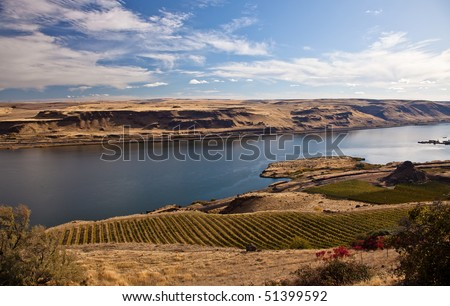 River gorge, blue sky and clouds landscape. - stock photo