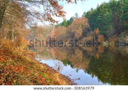 river in autumn - stock photo