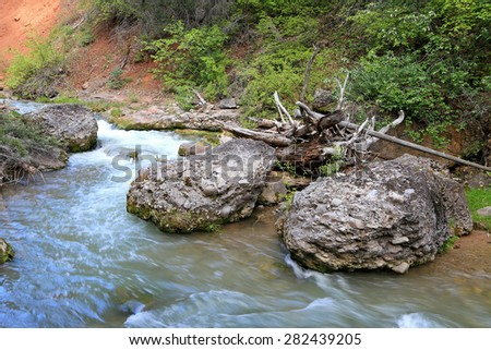 River in Diamond Fork Canyon, Utah, USA. - stock photo