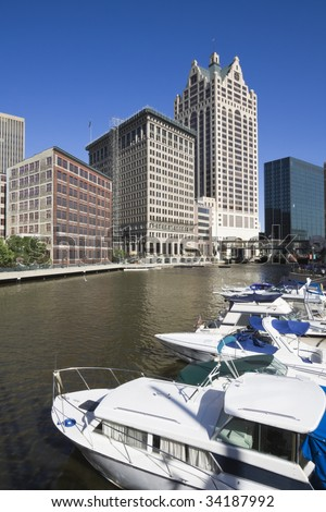 River in downtown Milwaukee, Wisconsin. - stock photo