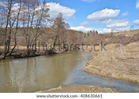 River in early spring. River Vasana in the Tula region of Russia at the end of April.