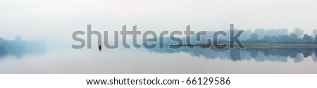 river in fog - morning panorama landscape - stock photo
