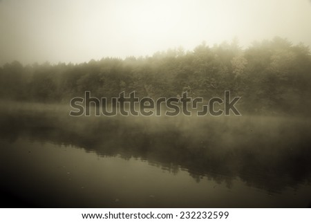 River in fog, vintage photo. Connecticut River, Brattleboro, USA. - stock photo