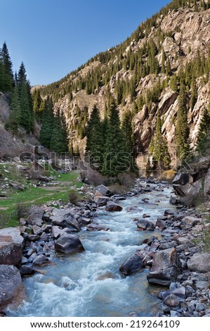 River in Grigorevsky gorge. Grigorevsky gorge (Chon-Ak-Suu gorge)is situated in 60 kilometers from Cholpon-Ata city. Grigorevsky gorge is considered one of the most picturesque gorges in IssykKul area - stock photo