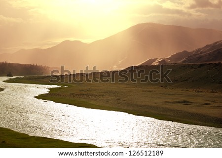 River in Mongolian prairie - stock photo