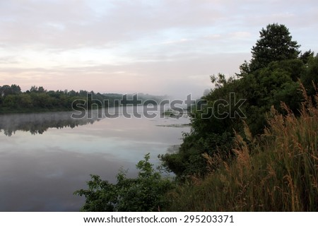 River in morning in summer