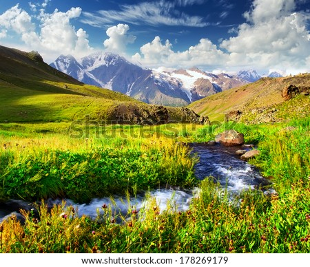 River in mountain valley. Beautiful summer landscape - stock photo