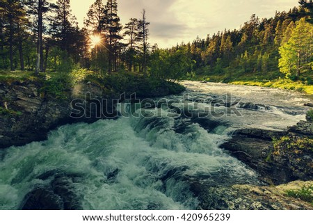 River in Norway - stock photo