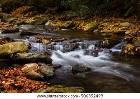 River in Smoky Mountains National Park with autumn leaves