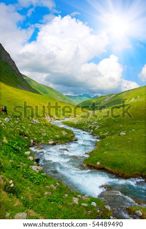 River in spring season - stock photo