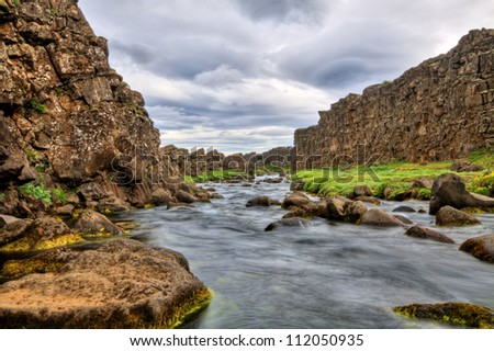 River in the canyon, Thingvellir NP, Iceland - stock photo