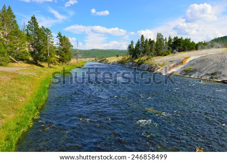 River in the Midway Geyser Basin in Yellowstone National Park, Wyoming - stock photo