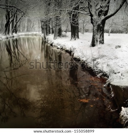River in the winter - stock photo