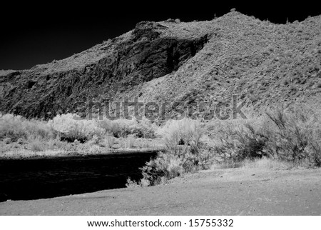 River in the winter Arizona desert mountains