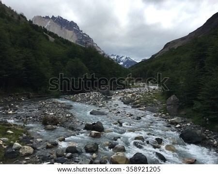 River in Torres del Paine National Park, Chile - stock photo