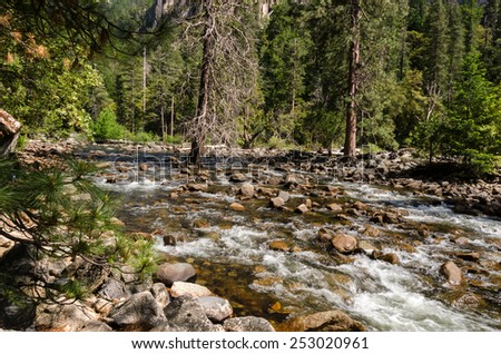 River in Yosemite National Park in California - stock photo