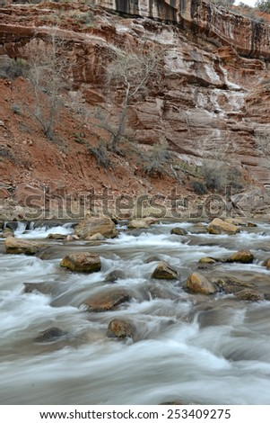 River in Zion National Park - Geological wonder of Mountains, rivers and Sandstone was ancient home of the Anasazi people and rich in Native American culture. - stock photo