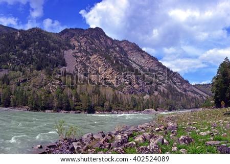 River Katun, Altai, Siberia, Russia - stock photo
