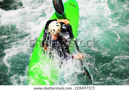 River Kayaking as extreme and fun sport - stock photo