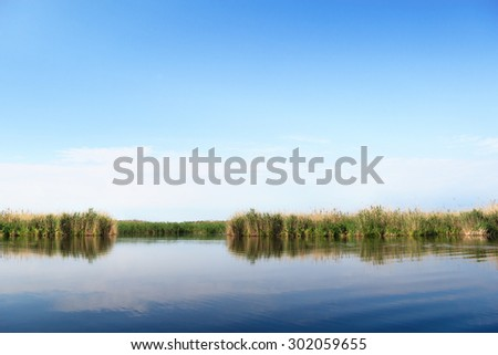 River landscape, clear blue sky, the waves on the water, river, green tourism, travel along the river, boating, summer sunny day after the storm, a harbor for ships, aquatic vegetation. - stock photo