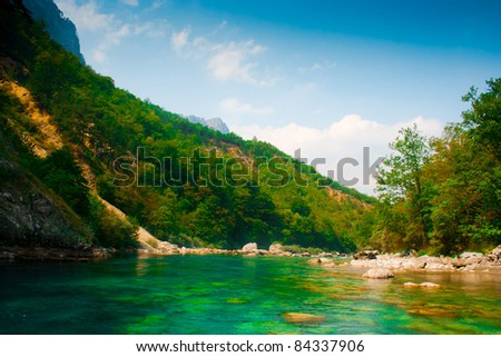 River landscape (taken from the boat) - stock photo