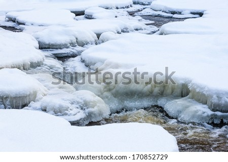 River landscape with snow and ice