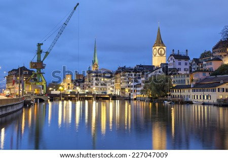River Limmat  in the centre of Zurich in the evening, Switzerland - stock photo