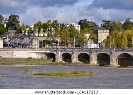 River Loire and bridge of Wilson at Tours, city in central France, the capital of the Indre-et-Loire department, Centre region. - stock photo