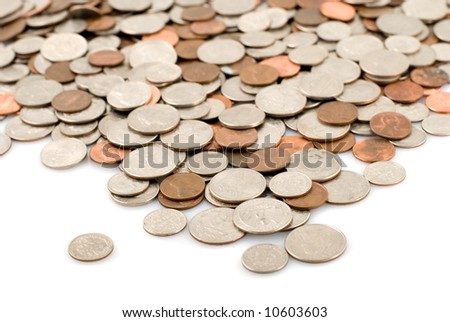 river made of coins on white background. shallow depth of field - stock photo