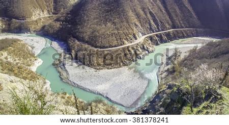 river meander inlet bend  Val Trebbia curve road in winter - Brugnello Piacenza - emilia romagna region - stock photo