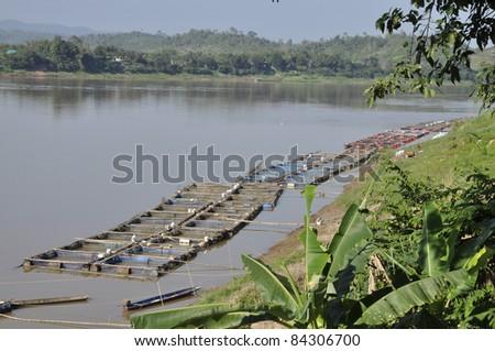 River Mekong Raft Nature Outdoor Thailand - stock photo