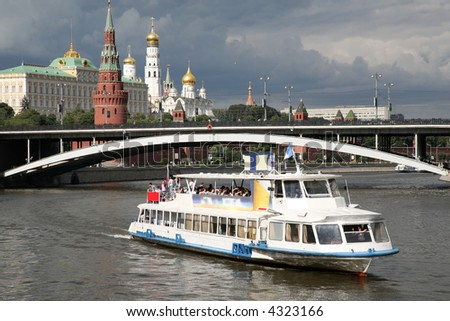 river motor ship on Moscow-river - stock photo