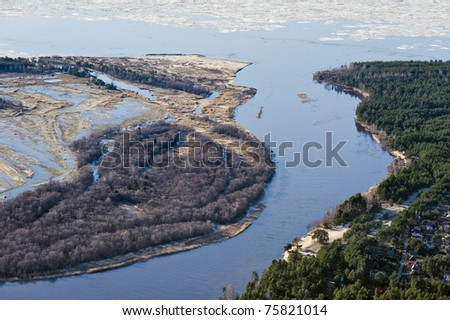 River mouth at the Gulf of Riga - stock photo