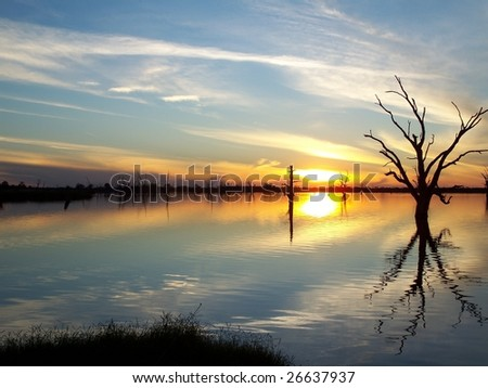 River Murray Sunset. - stock photo