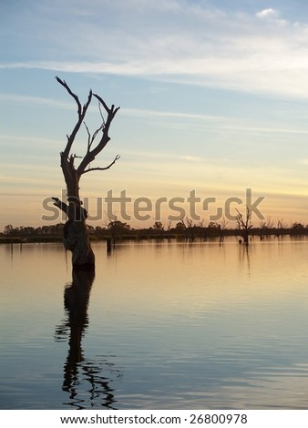 River Murray Sunset - stock photo