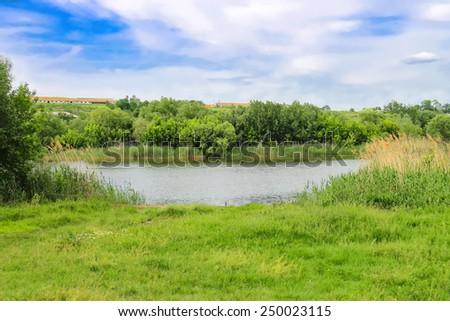 River near the Ukrainian village  - stock photo