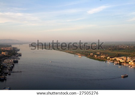 River Nile - Elevated Aerial View - stock photo