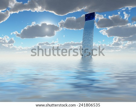 River of water flows from hole in sky - stock photo