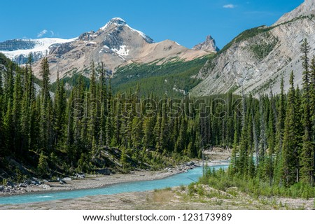 River on the icefield parkway in Jasper National Park, Alberta, Canada - stock photo