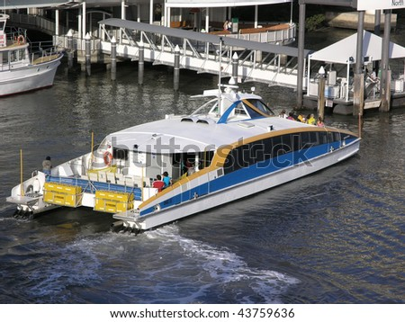 River passanger ferry docking. - stock photo