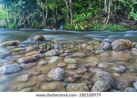 River passing by rocks in Brazil.