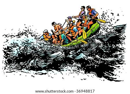 river raft illustration - stock photo