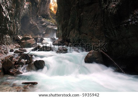 River raging through a gorge in Garmisch-Partenkirchen, Germany - stock photo