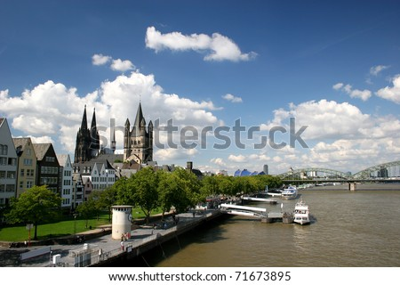 River Rhine and cathedral of Cologne, Germany - stock photo