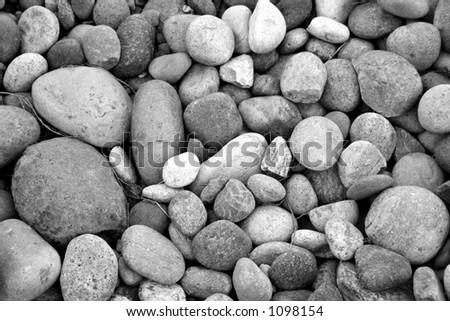 river rock black and white - stock photo