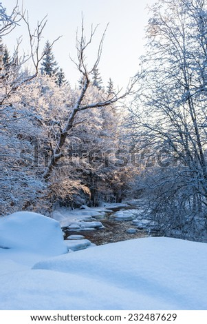 River running through the winter landscape - stock photo
