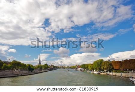 River Seine in Paris in Autumn - stock photo