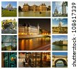 River Seine, palaces and townhouses in Paris night, capitol of France. Collage - stock photo