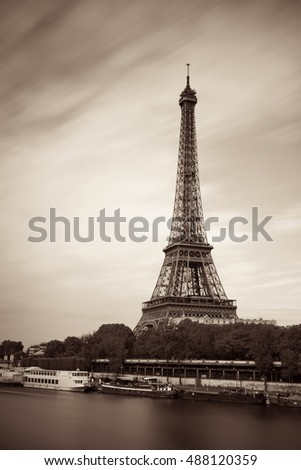 River Seine with Eiffel Tower in Paris, France.