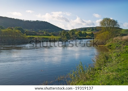 River Severn from the riverbank at Buildwas, Shropshire, UK - stock photo